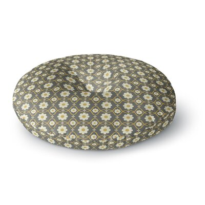 Nandita Singh Floral Gray Round Floor Pillow Size: 26 x 26