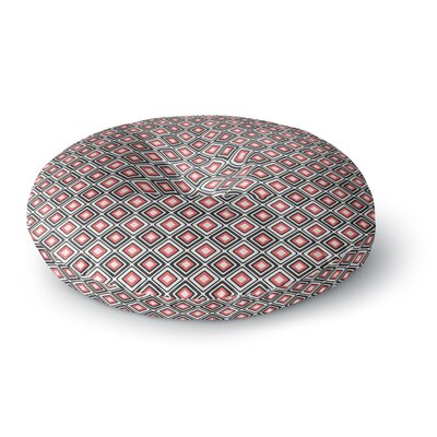 Nandita Singh Bright Squares-Coral Round Floor Pillow Size: 23 x 23