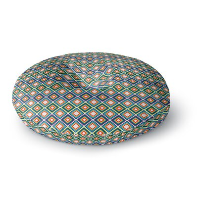 Nandita Singh Bright Squares-Blue Round Floor Pillow Size: 26 x 26