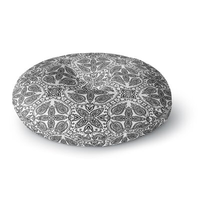 Nandita Singh Boho in Black and White Round Floor Pillow Size: 26 x 26