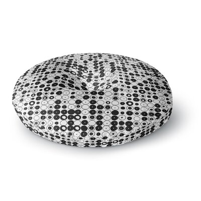 Nandita Singh Black & White Funny Polka Dots Abstract Round Floor Pillow Size: 26 x 26