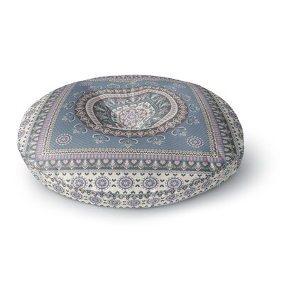 Nandita Singh Chakra - Blue and Purple Digital Round Floor Pillow Size: 23 x 23