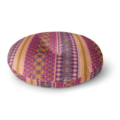 Nandita Singh Banjara-Purple and Pink Digital Round Floor Pillow Size: 23 x 23