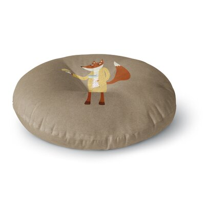 Nic Squirrell Mr Fox Takes Tea Animals Round Floor Pillow Size: 23 x 23