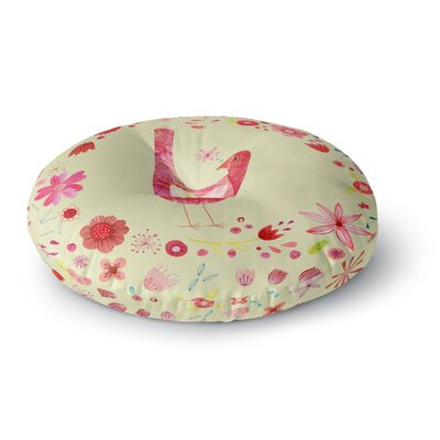 Nic Squirrell Bird in a Circle of Flowers Floral Round Floor Pillow Size: 23 x 23