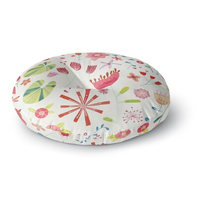 Nic Squirrell Pressed Wildflowers Round Floor Pillow Size: 26 x 26