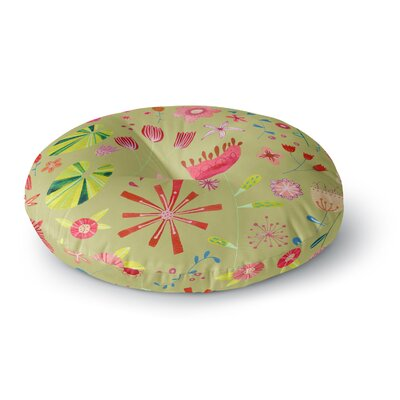 Nic Squirrell Wild Meadow Floral Digital Illistration Round Floor Pillow Size: 26 x 26