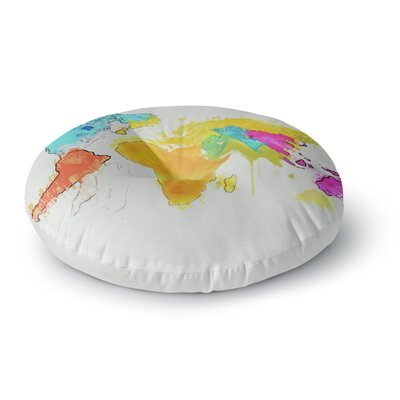 Oriana Cordero World Map Rainbow Round Floor Pillow Size: 23 x 23