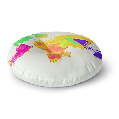 Oriana Cordero My World Rainbow Map Round Floor Pillow Size: 26 x 26