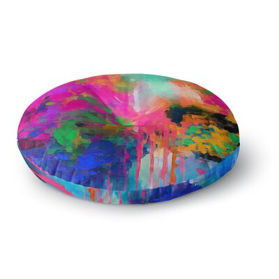 Oriana Cordero Montesilvano-Abstract Rainbow Painting Round Floor Pillow Size: 26 x 26