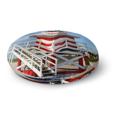 Philip Brown 'Lighthouse Lifeguard Stand' Photography Round Floor Pillow Size: 23