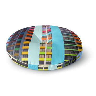 Philip Brown 'The Rainbow Building' Modern Round Floor Pillow Size: 26
