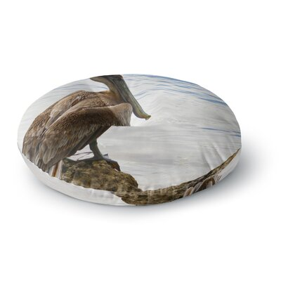 Philip Brown 'Pelican Waiting' Photography Round Floor Pillow Size: 26