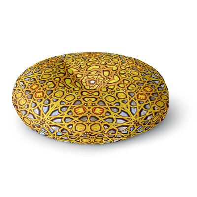 Philip Brown 'Golden Kaleidoscope' Round Floor Pillow Size: 26