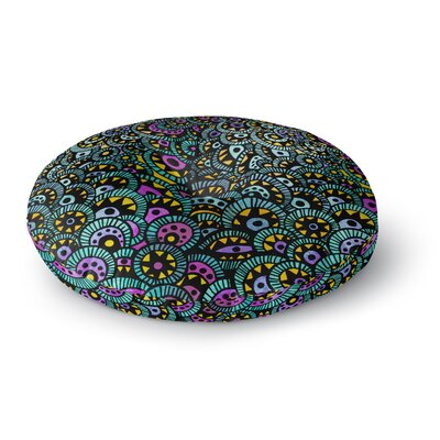 Pom Graphic Design Peacock Tail Round Floor Pillow Size: 23 x 23