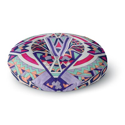 Pom Graphic Design Abstract Journey Circular Tribal Round Floor Pillow Size: 23 x 23