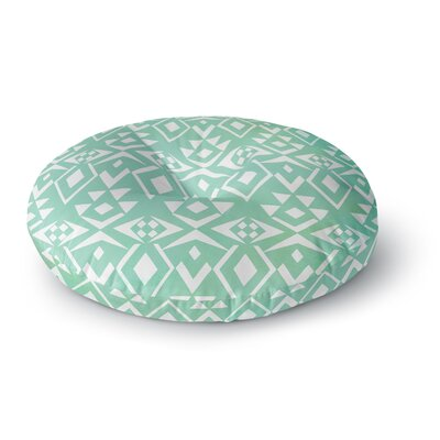 Pom Graphic Design Ancient Tribe Seafoam Round Floor Pillow Size: 26 x 26