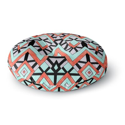 Pom Graphic Design Geometric Mountains Round Floor Pillow Size: 26 x 26