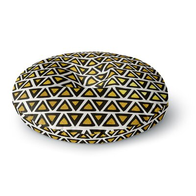 Pom Graphic Design Aztec Triangles Gold Round Floor Pillow Size: 26 x 26