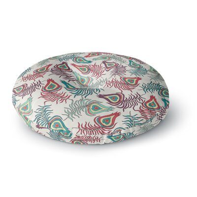 Pom Graphic Design Peacock Feathers Round Floor Pillow Size: 26 x 26