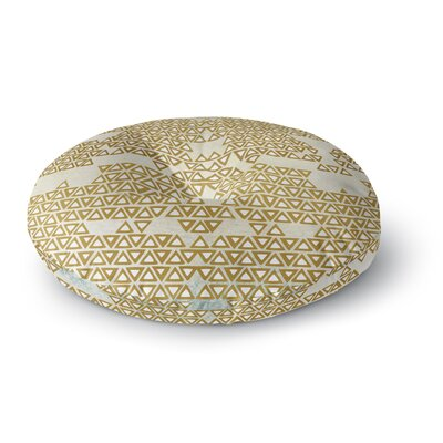 Pom Graphic Design Mint & Gold Empire Geometric Round Floor Pillow Size: 23 x 23