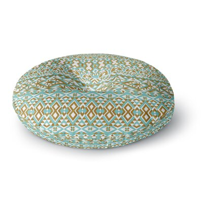 Pom Graphic Design Mint & Gold Tribals Round Floor Pillow Size: 23 x 23