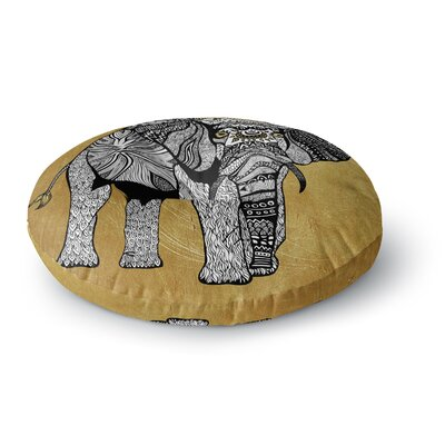 Pom Graphic Design Golden Elephant Round Floor Pillow Size: 26 x 26