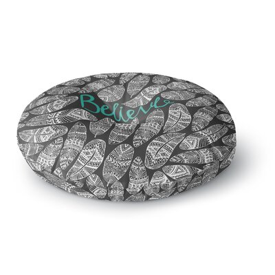 Pom Graphic Design Believe in Yourself Dark Round Floor Pillow Size: 26 x 26
