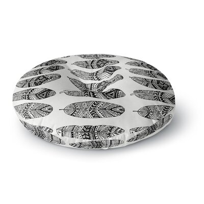 Pom Graphic Design Wild Feathers Illustration Round Floor Pillow Size: 26 x 26