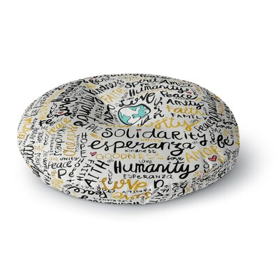 Pom Graphic Design Positive Messages Gold Illustration Round Floor Pillow Size: 26 x 26