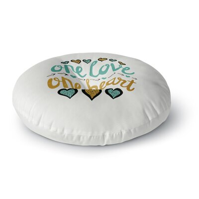 Pom Graphic Design One Love One Heart Typography Illustration Round Floor Pillow Size: 26 x 26
