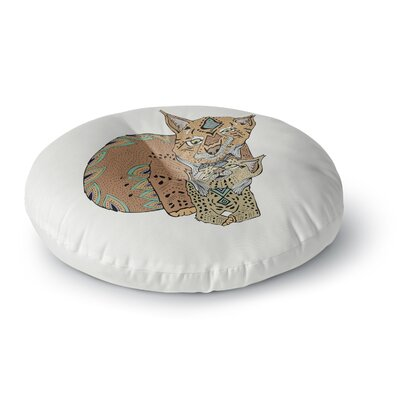 Pom Graphic Design Mama and Baby Lynx Vector Animals Round Floor Pillow Size: 26 x 26