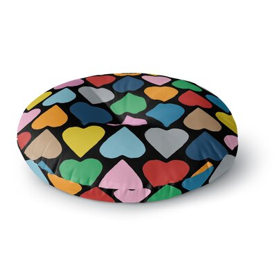Project M Up and Down Hearts on Black Round Floor Pillow Size: 26 x 26