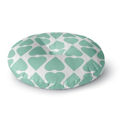 Project M Mint Diamond Hearts Round Floor Pillow Size: 23 x 23