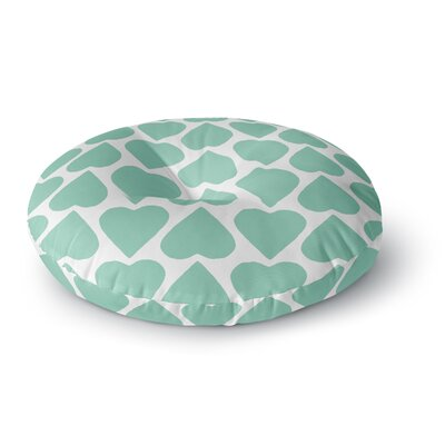 Project M Mint Up and Down Hearts Round Floor Pillow Size: 26 x 26