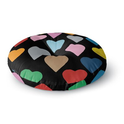 Project M Hearts Color on Black Round Floor Pillow Size: 23 x 23