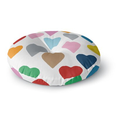 Project M Colorful Hearts Round Floor Pillow Size: 23 x 23