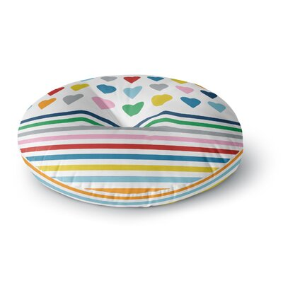 Project M Heart Stripes Rainbow Shapes Round Floor Pillow Size: 23 x 23