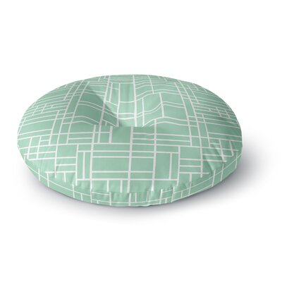 Project M Map Outline Mint Geometric Lines Round Floor Pillow Size: 26 x 26