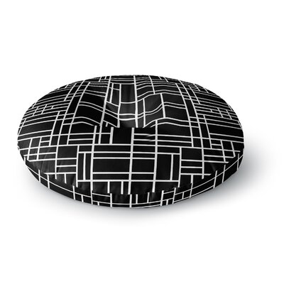 Project M Map Outline Black Simple Geometric Round Floor Pillow Size: 26 x 26