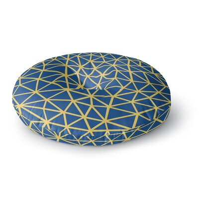 Project M Segment Blue and Yellow Digital Round Floor Pillow Size: 23 x 23