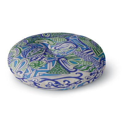 Rosie Brown Blue Green Zentangle Round Floor Pillow Size: 26 x 26