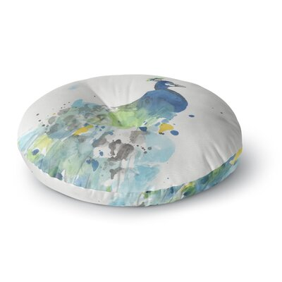 Rebecca Bender Abstract Watercolor Peacock Round Floor Pillow Size: 23 x 23