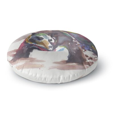 Rebecca Bender Grizzly Bear Watercolor Abstract Animal Round Floor Pillow Size: 23 x 23