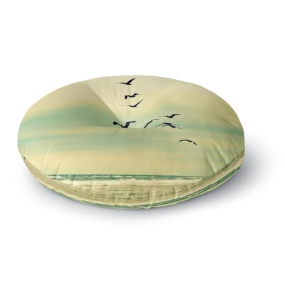 Robin Dickinson Across the Endless Sea Birds Round Floor Pillow Size: 26 x 26