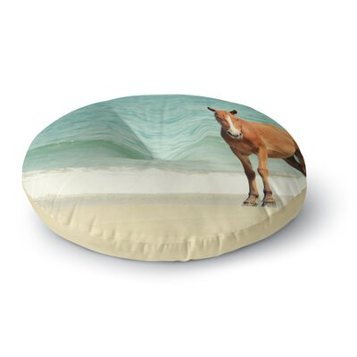 Robin Dickinson Wild Mustang of Carova Horse Ocean Round Floor Pillow Size: 23 x 23