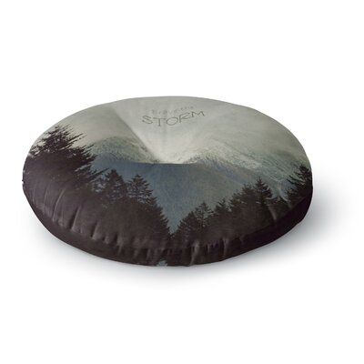 Robin Dickinson Brave the Storm Snow Mountain Round Floor Pillow Size: 23 x 23