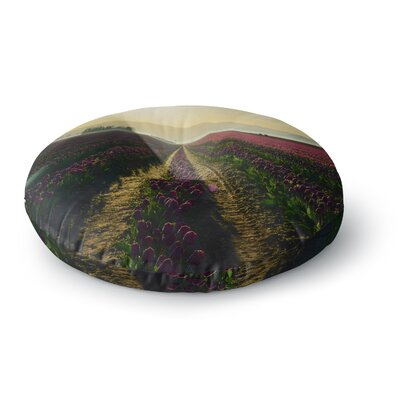 Robin Dickinson Here Comes the Sun Flower Landscape Round Floor Pillow Size: 26 x 26