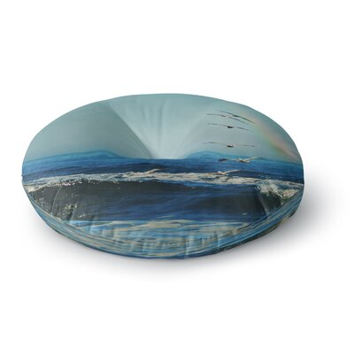 Robin Dickinson Ill Follow Coastal Round Floor Pillow Size: 23 x 23