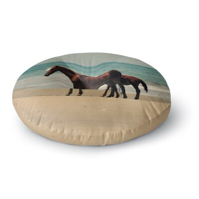 Robin Dickinson Sandy Toes Beach Horses Round Floor Pillow Size: 26 x 26